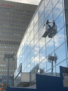 Window cleaning from cradle, Selfridges